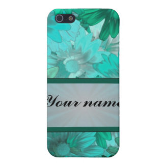 Teal green floral pattern iPhone 5 cover