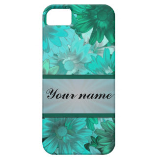 Teal green floral pattern iPhone 5 covers