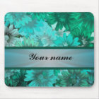 Teal green floral pattern mouse mat
