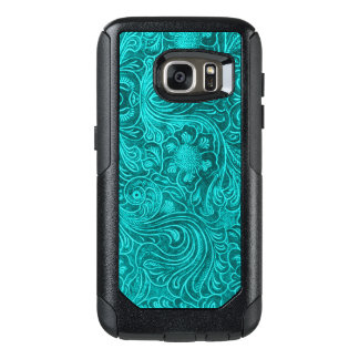 teal green Floral pattern Suede leather Look OtterBox Samsung Galaxy S7 Case
