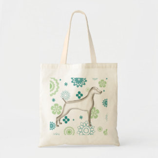 Teal & Green Floral Weimaraner Tote