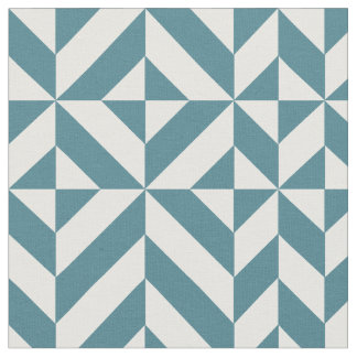 Teal Green Geometric Deco Cube Pattern Fabric