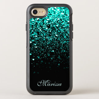 Teal Green Glitter Black OtterBox Symmetry iPhone 8/7 Case