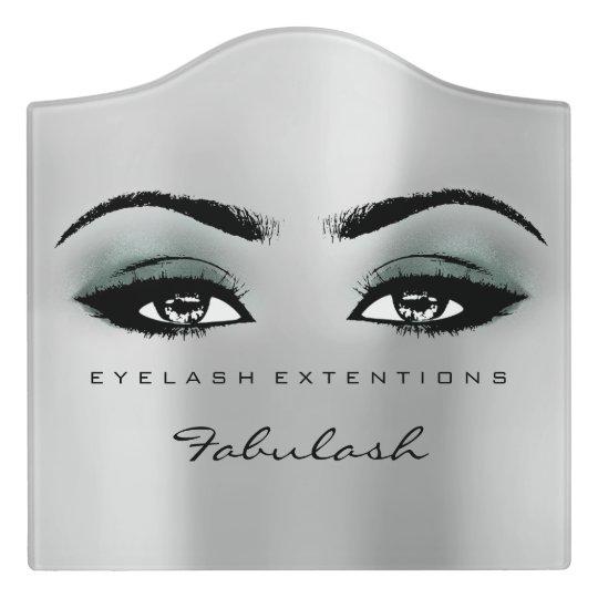 Teal Green Glitter Grey Beauty Lashes Makeup Door Sign