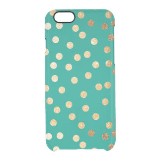Teal Green Gold Glitter Dots Clear Phone Case iPhone 6 Plus Case