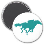 Teal Green Horse Racing 7.5 Cm Round Magnet