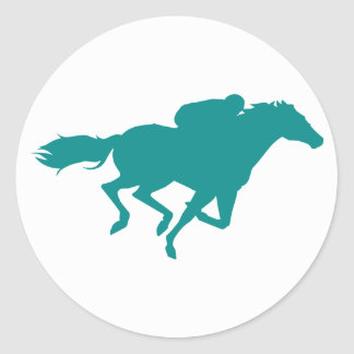 Teal Green Horse Racing Round Sticker