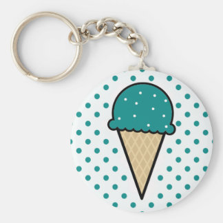 Teal Green Ice Cream Cone Basic Round Button Key Ring