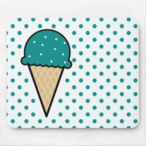 Teal Green Ice Cream Cone Mouse Pad