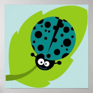 Teal Green Ladybug Poster