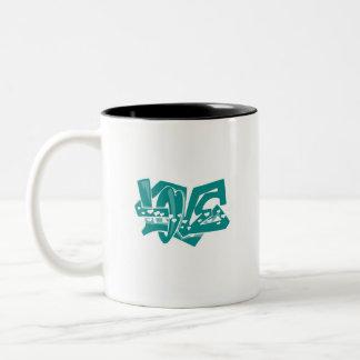 Teal Green Love Graffiti Coffee Mug