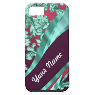 Teal green & magenta damask iPhone 5 case