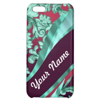 Teal green & magenta damask iPhone 5C cover