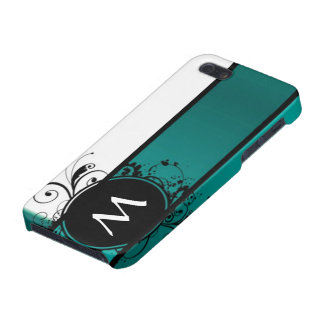 Teal green monogrammed case for iPhone 5