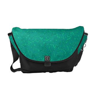 Teal Green Music Notes Pattern On Black Bag Messenger Bag