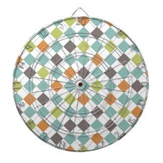 Teal Green Orange Taupe Classic Argyle Pattern Dartboard