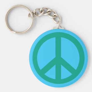 Teal Green Peace Sign Products Basic Round Button Key Ring