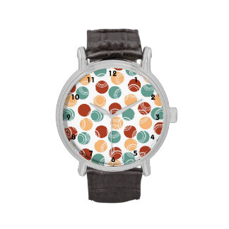 Teal Green, Peach, Burnt Orange Polka Dots Watches