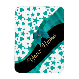 Teal green pretty spotty patterned personalized rectangular photo magnet