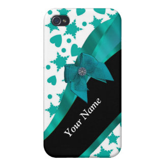 Teal green pretty spotty patterned personalized iPhone 4 cases