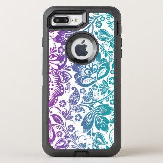 Teal Green & Purple Floral Damasks Pattern OtterBox Defender iPhone 7 Plus Case