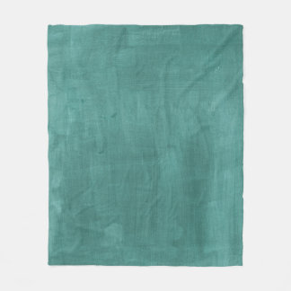 Teal Green Retro Watercolor Texture Fleece Blanket
