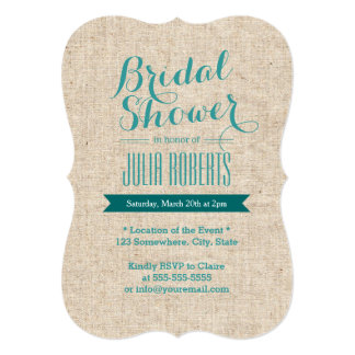 Teal Green Rustic Burlap Texture Bridal Shower Personalized Invites