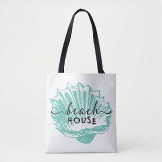 Teal-green Seashell & Beach House Typography Tote Bag