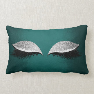 Teal Green Silver Glitter Black Glam Makeup Lashes Lumbar Cushion