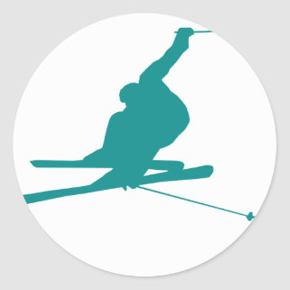 Teal Green Snow Ski Round Sticker
