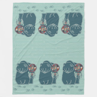 Teal Green Spirit Bear Native American Theme Fleece Blanket