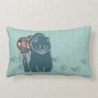 Teal Green Spirit Bear with Tracks Native American Lumbar Cushion