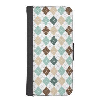 Teal Green, Tan, Brown, White Argyle Phone Wallet Case