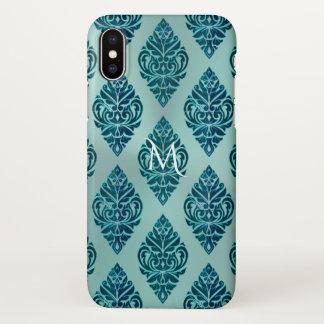Teal Green Tribal Damask Monogram iPhone X Case