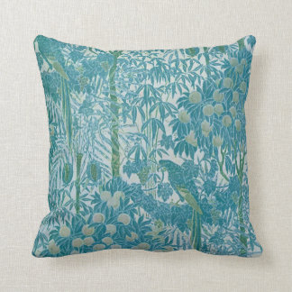 Teal Green Vintage Tropical Parrot Pattern Cushion