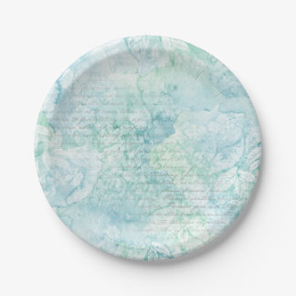 Teal Green Watercolor Paper Plates 7 Inch Paper Plate