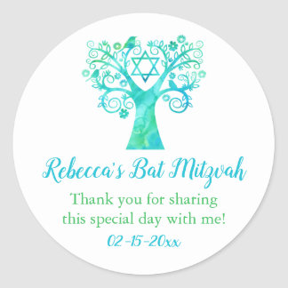 Teal Green Watercolor Tree of Life Bat Mitzvah Classic Round Sticker