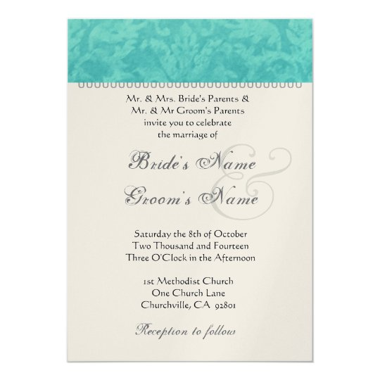 Teal Green Wedding Damask Champagne Metallic Paper Card