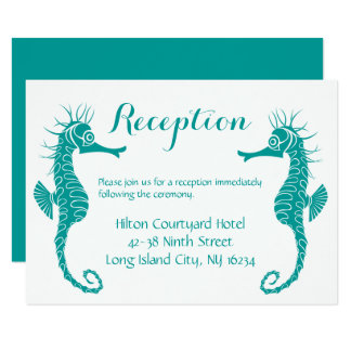 Teal Green Wedding Reception Seahorse - Beach Card