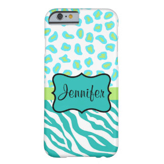 Teal Green  White Zebra Leopard Skin Name Barely There iPhone 6 Case