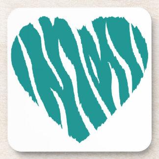 Teal Green Wild Heart Beverage Coasters