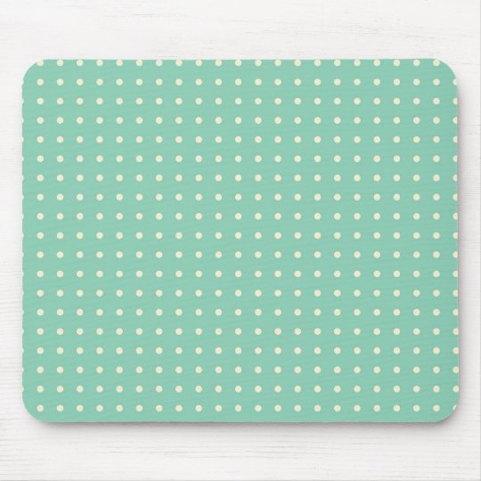 Teal green with small cream polka dots mouse mat