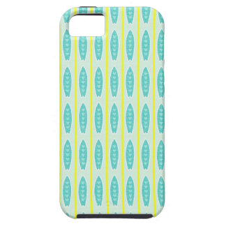 Teal green & yellow hearts design iPhone 5 cases