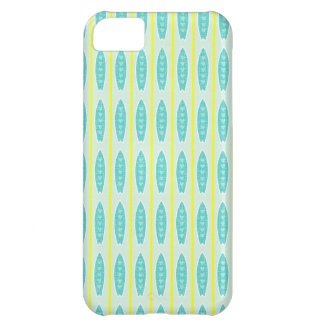 Teal green & yellow hearts design iPhone 5C case