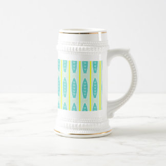 Teal green & yellow hearts design coffee mug
