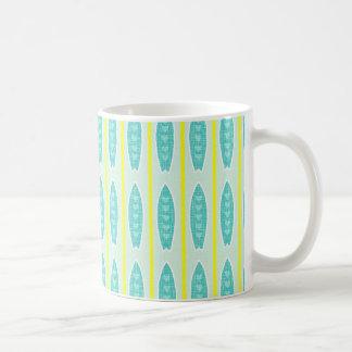 Teal green & yellow hearts design mugs