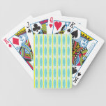 Teal green & yellow hearts design poker cards