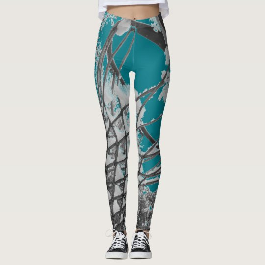 Teal Grey and White Abstract Snowy Bonds Leggings