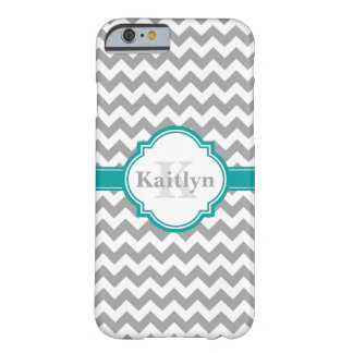 Teal Grey Chevron Pattern & Moroccan Quatrefoil Barely There iPhone 6 Case