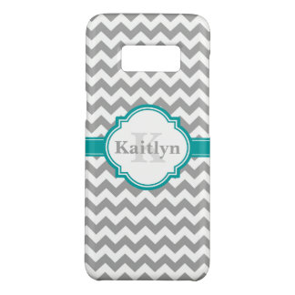 Teal Grey Chevron Pattern & Moroccan Quatrefoil Case-Mate Samsung Galaxy S8 Case